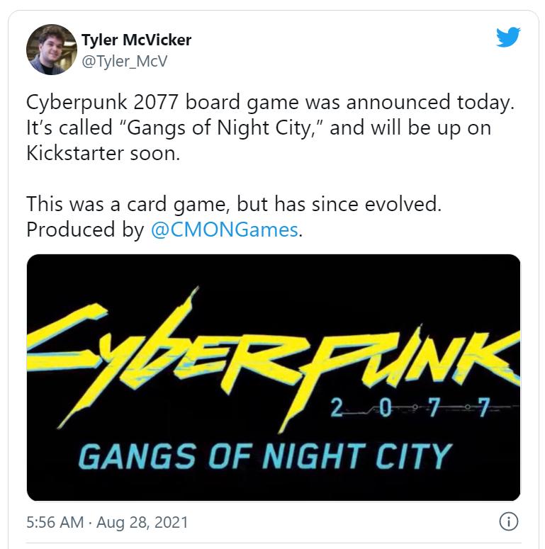 Cyberpunk boardgame tweet cmon meniac news